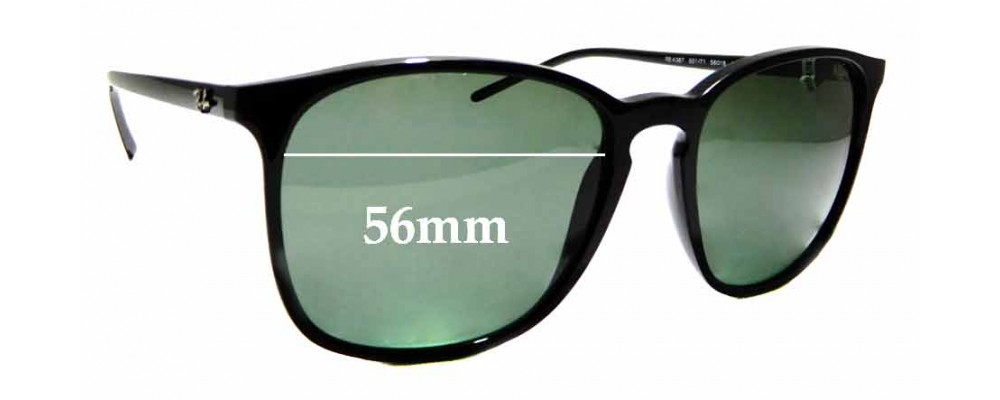 Sunglass Fix Replacement Lenses for Ray Ban RB4387 - 56mm wide
