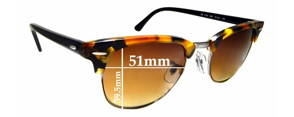 Sunglass Fix Replacement Lenses for Ray Ban Clubmaster RB5154 - 51mm wide  x 39.5mm high * Please measure as there are multiple sizes *