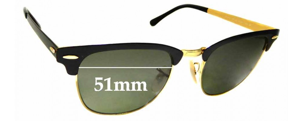 5fae9355980b2 Sunglass Fix Replacement Lenses for Ray Ban RB3716 Clubmaster - 51mm Wide