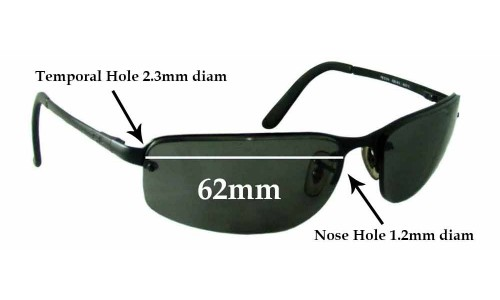 Sunglass Fix Replacement Lenses for Ray Ban RB3239 - 62mm wide **These lenses have a smaller 1.2mm hole on the nose**