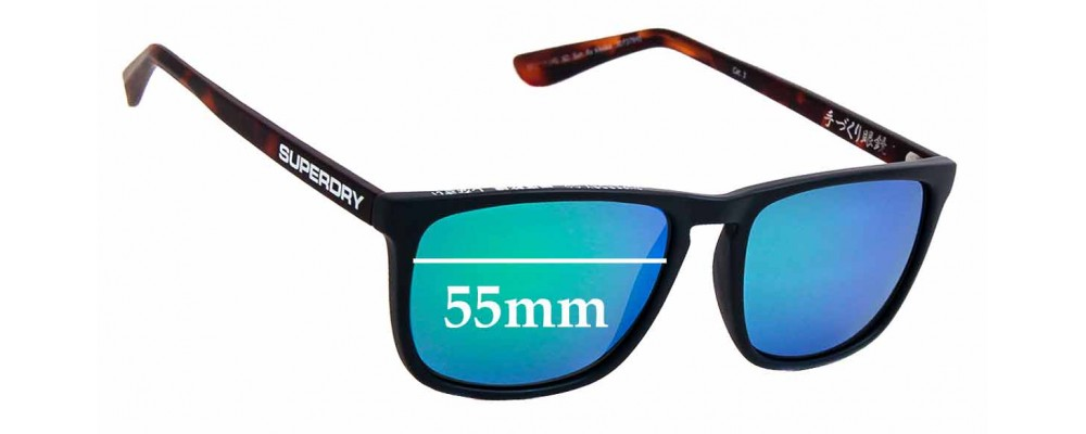 Sunglass Fix New Replacement Lenses for Superdry SD Sun Rx Kiyoko - 55mm Wide