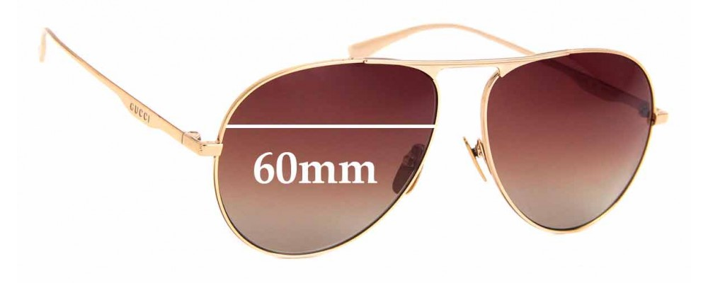 Sunglass Fix Replacement Lenses for Gucci GG 0334S - 60mm Wide