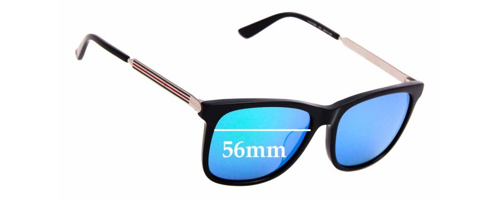 Sunglass Fix Replacement Lenses for Gucci GG 0078SK - 56mm wide