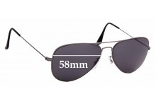 Sunglass Fix Replacement Lenses for Ray Ban Aviator Flat Metal RB3513 - 58mm Wide