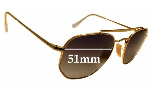 Sunglass Fix Replacement Lenses for Ray Ban RB3648 The Marshal - 51mm Wide