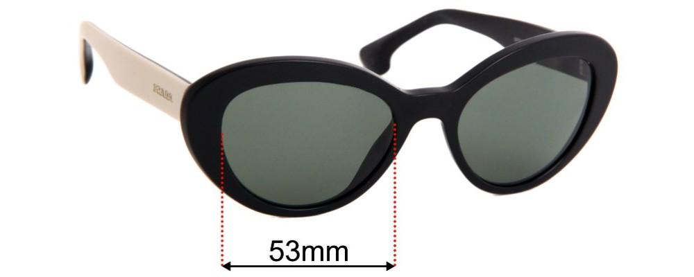 Prada SPR15Q Replacement Sunglass Lenses - 53mm Wide