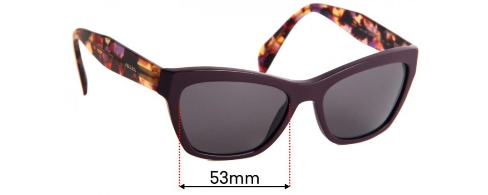 Sunglass Fix Replacement Lenses for Prada VPR14Q - 53mm wide