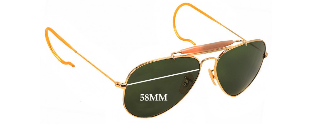 8b38a25ce0 Ray Ban Aviator Outdoorsman RB3030 Replacement Sunglass Lenses - 58mm Wide