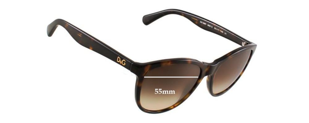 Dolce & Gabbana DG3091 Replacement Sunglass Lenses - 55mm wide