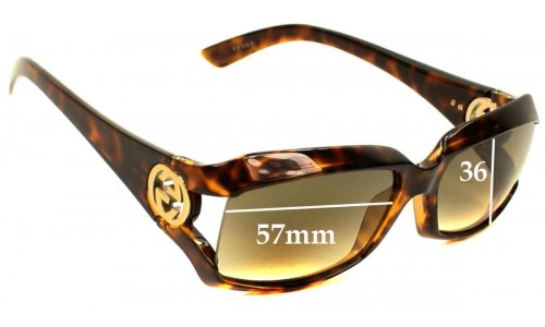 Gucci GG2599-S Replacement Sunglass Lenses - 57mm Wide and 36mm Tall - Very simllar looking to GG2598's so please measure height