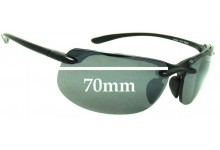 Sunglass Fix Replacement Lenses for Maui Jim MJ412 Banyans - 70mm Wide *(Newer Version - With Gaskets for Bigger Holes)
