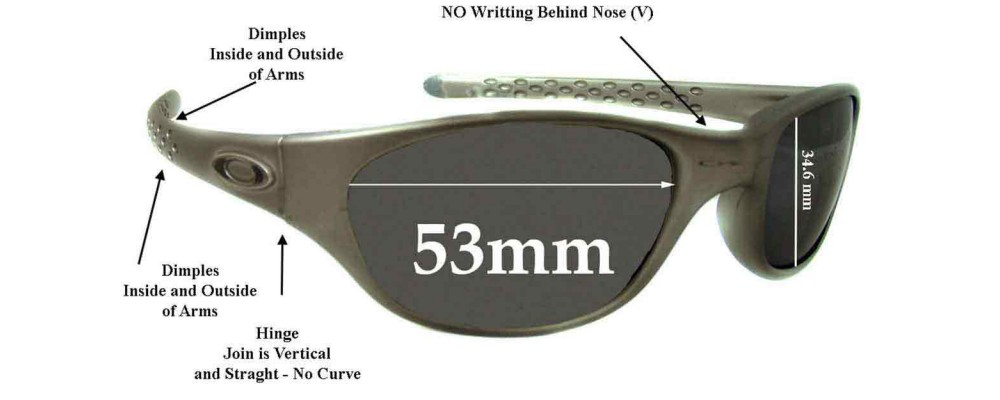 Oakley Fives Late 1990's model Replacement Sunglass Lenses - 53mm Wide