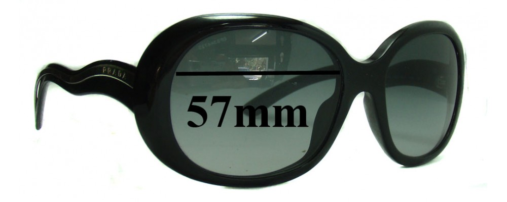 Prada SPR08L Replacement Sunglass Lenses - 57mm wide lens