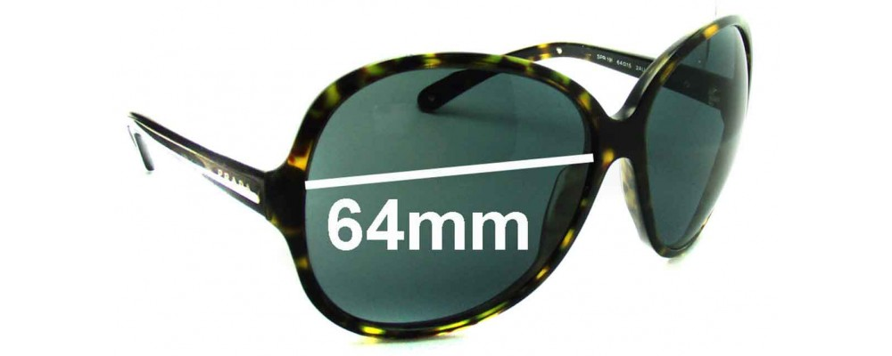 Prada SPR19I Replacement Sunglass Lenses - 64mm lens
