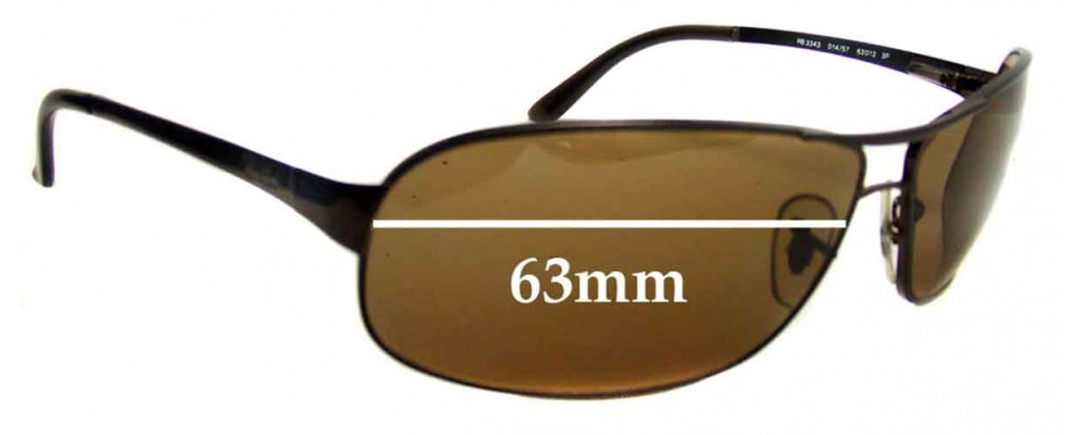 Ray Ban Sidestreet RB3343 Replacement Sunglass Lenses - 63mm Wide
