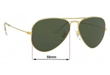 Ray Ban Aviators L RB3026F Replacement Sunglass Lenses - 58mm across