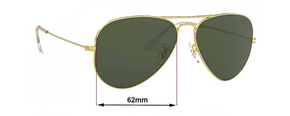 Sunglass Fix Replacement Lenses for Ray Ban Aviators RB3026 Bausch and Lomb - 62mm across - NOT Large Metal