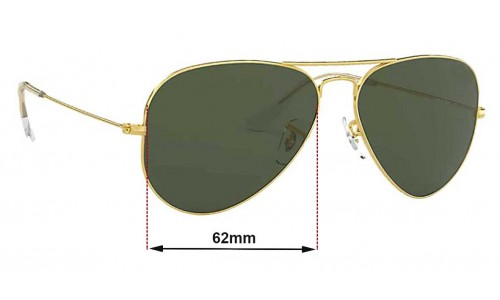 Ray Ban Aviators Large Metal RB3025 Replacement Sunglass Lenses - 62mm across