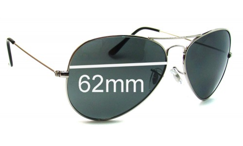 Ray Ban Aviators RB3026 Italy Replacement Sunglass Lenses - 62mm across - NOT Large Metal