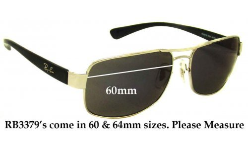 Ray Ban RB3379 Replacement Sunglass Lenses - 60mm wide