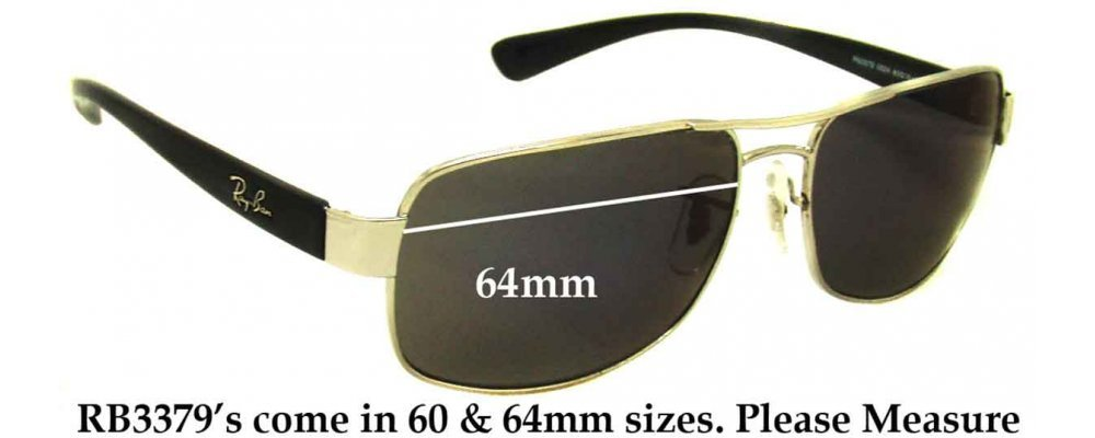 Replace Sunglass Lenses  ban rb3379 replacement sunglass lenses 64mm wide
