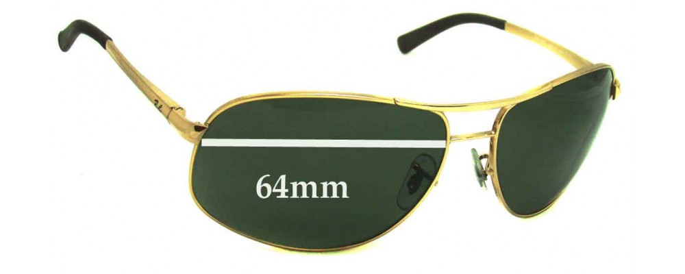f5cc183ff754 Ray Ban RB3387 Replacement Sunglass Lenses - 64mm wide
