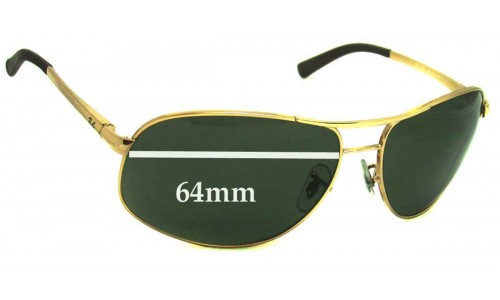 Sunglass Fix Replacement Lenses for Ray Ban RB3387 - 64mm wide