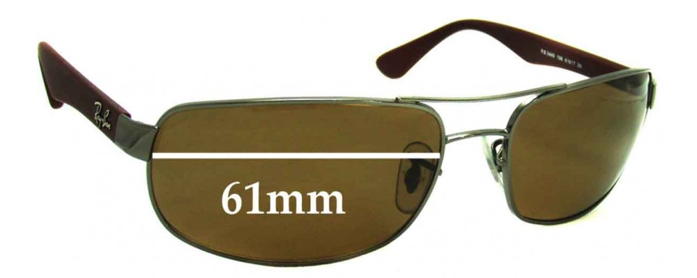352745429da2 Sunglass Fix Replacement Lenses for Ray Ban RB3445 - 61mm Wide