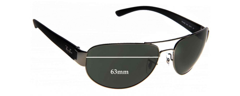 ray ban 3448  Ban RB3448 Replacement Sunglass Lenses - 63mm Wide