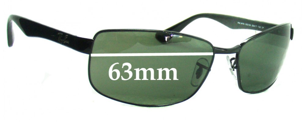 eb37b7a21c Ray Ban RB3478 Replacement Sunglass Lenses - 63mm Wide