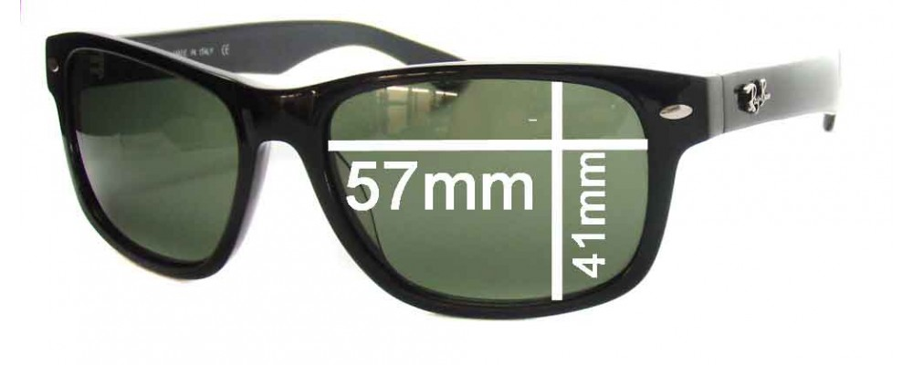 """Ray Ban RB2140 New Wayfarer Replacement Sunglass Lenses - 57mm wide lenses (Rare Model. The words """"NEW WAYFARER"""" appear on the right arm)"""