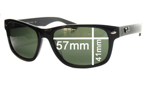 "Sunglass Fix Replacement Lenses for Ray Ban RB2140 New Wayfarer - 57mm wide lenses (Rare Model. The words ""NEW WAYFARER"" appear on the right arm)"