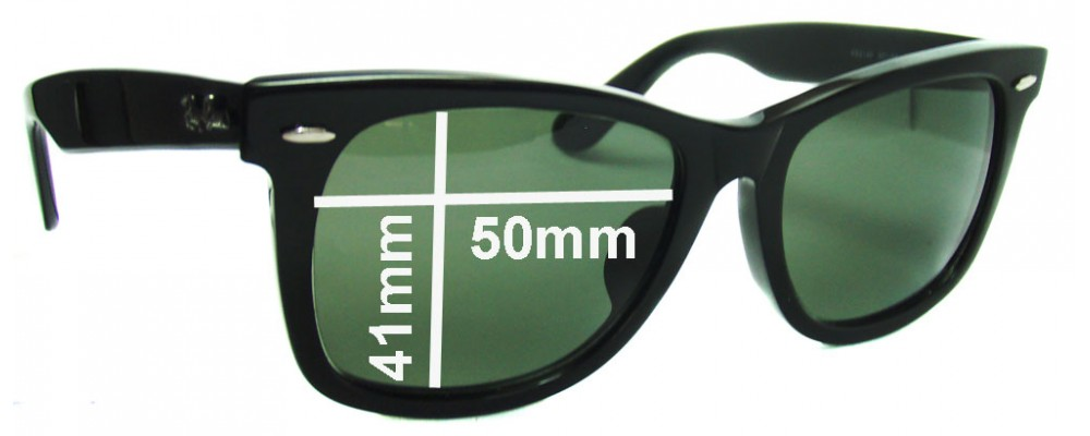 "Ray Ban RB2140 New Wayfarer Outsider Replacement Sunglass Lenses 50mm (Rare Model. The words ""NEW WAYFARER"" appear on the right arm)"