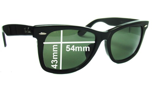 "Ray Ban RB2140 New Wayfarer Replacement Sunglass Lenses 54mm wide (Rare Model. The words ""NEW WAYFARER"" appear on the right arm)"