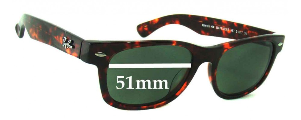 Ray Ban RB4105 New Wayfarer Replacement Sunglass Lenses - 51mm wide
