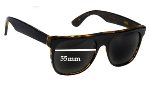 Retro Super Future Flat Top Wayfarers Replacement Sunglass Lenses - 55mm Wide