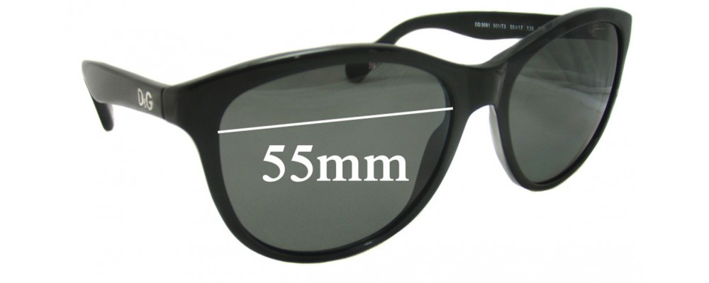 Dolce & Gabbana DG3090 Replacement Sunglass Lenses - 55mm wide