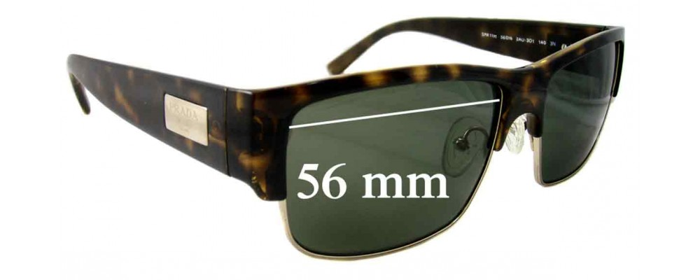 Prada SPR11M Replacement Sunglass Lenses - 56mm Wide