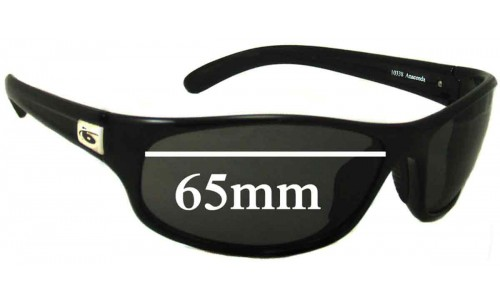 Bolle Anaconda Newer Style Replacement Sunglass Lenses - rounded rectangle shape 10338 - 65mm Wide 39mm Tall
