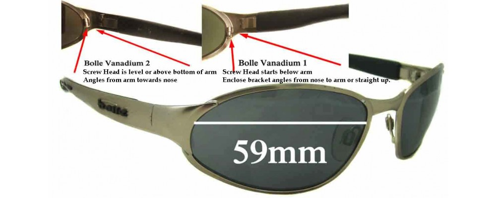 3932b4361bc Bolle Vanadium Replacement Sunglass Lenses - 59mm wide tear drop shaped