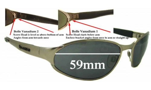 Bolle Vanadium Replacement Sunglass Lenses - 59mm wide tear dropshaped