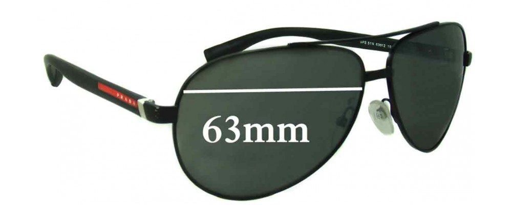 Prada SPS51N Replacement Sunglass Lenses - 63mm wide
