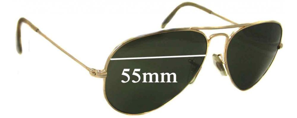 ray ban aviator measurements  Ban Aviators L RB3025 Replacement Sunglass Lenses - 55mm wide