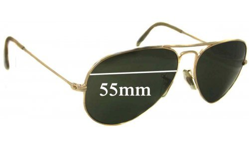 Sunglass Fix Replacement Lenses for Ray Ban Aviators L RB3025 - 55mm wide