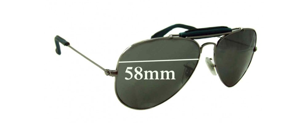 Ray Ban RB3422-Q Aviator Replacement Sunglass Lenses 58mm wide lenses