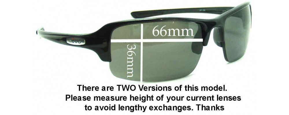 SFX Replacement Sunglass Lenses fits Revo Descend E RE4060 64mm Wide