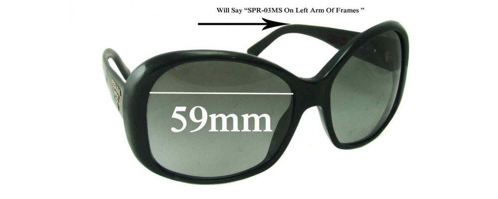 Prada SPR03MS Replacement Sunglass Lenses - 59mm lens