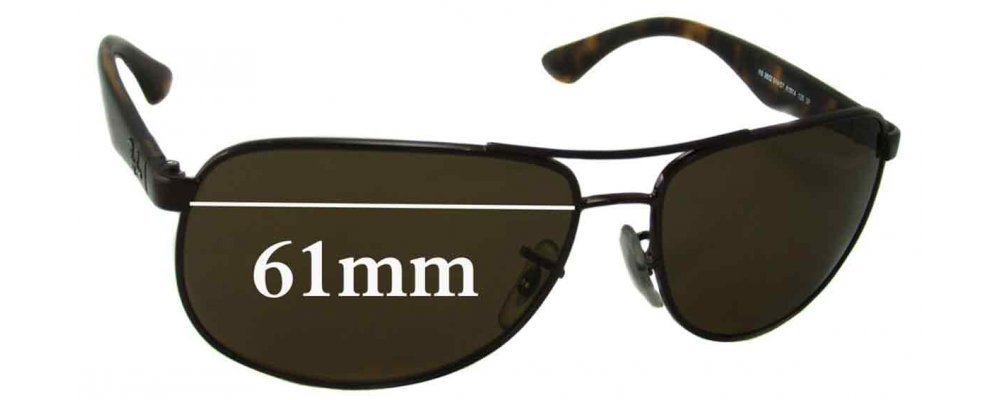 a51cc65b1c Ray Ban RB3502 Replacement Sunglass Lenses - 61mm wide