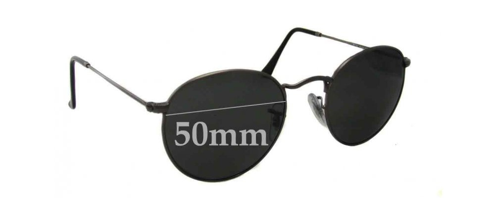 bcb56b85c11f0d Ray Ban RB3447 Round Metal Replacement Lenses - 50mm Wide   Sunglass Fix