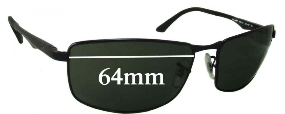 Ray Ban RB3498 Replacement Sunglass Lenses - 64mm Wide